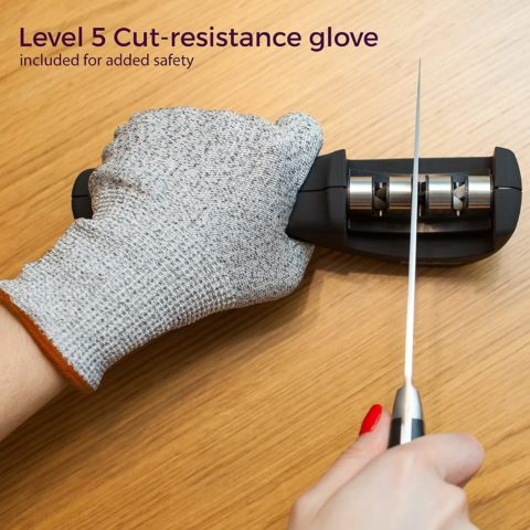 2-in-1 Kitchen Knife Accessories 3-Stage Knife Sharpener Helps Repair, Restore and Polish Blades and Cut-Resistant Glove