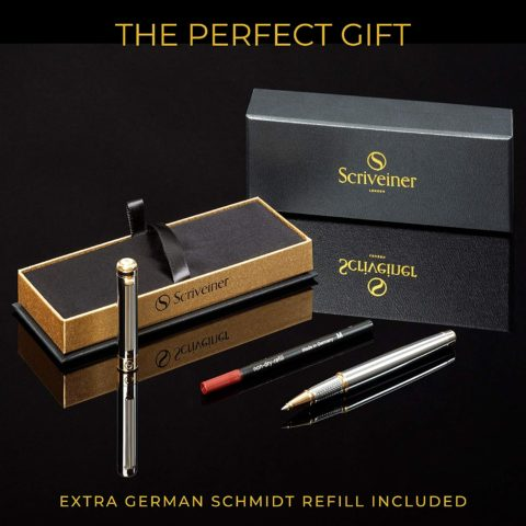 Luxury Pen by Scriveiner London - Stunning Rollerball Pen with 24K Gold Finish, Schmidt Ink Refill