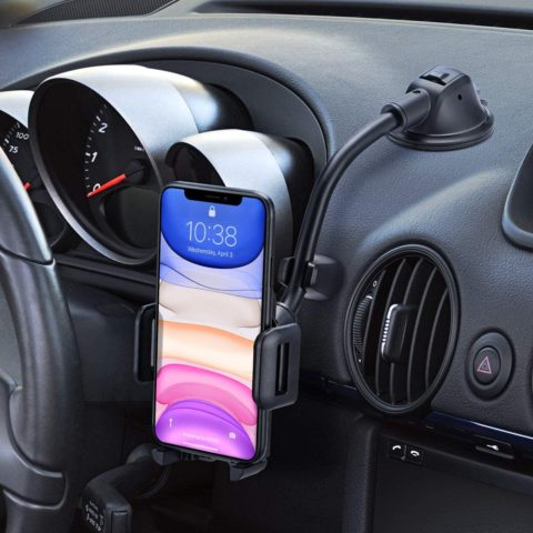 Mpow Car Phone Mount, Dashboard Windshield Car Phone Holder with Long Arm, Strong Sticky Gel Suction Cup