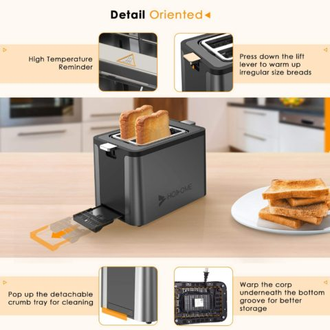 2 Slice Toaster, Hosome Stainless Steel Bread Toaster with 6 Browning Settings