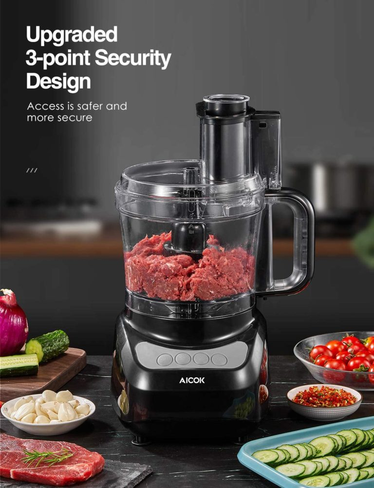 AICOK Food Processor, Compact Food Processor, Multifunctional 12 Cup Electric Food Chopper, 4 Speed Controls Food Shredder, Chopper with Blade