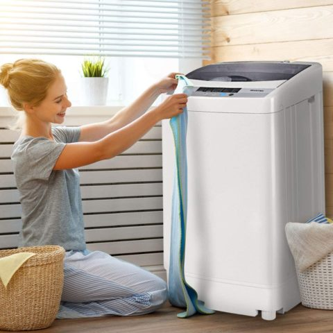 Giantex Full-Automatic Washing Machine Portable Compact 1.34 Cu.ft Laundry Washer Spin with Drain Pump