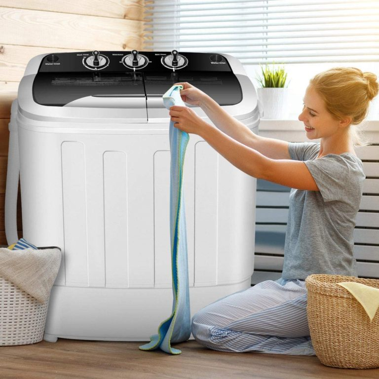 Giantex Washing Machine, Portable Clothes Washing Machines, 13lbs Wash and Spin Cycle, Semi-Automatic Laundry Machine, Compact Washer and Dryer Combo