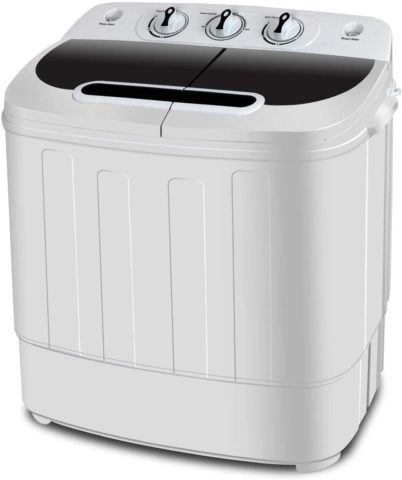 SUPER DEAL Portable Compact Mini Twin Tub Washing Machine wWash and Spin Cycle, Built-in Gravity Drain
