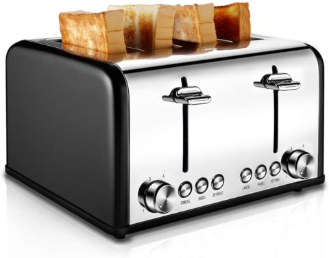 Toaster 4 Slice, CUSIBOX Stainless Steel Toaster with Bagel
