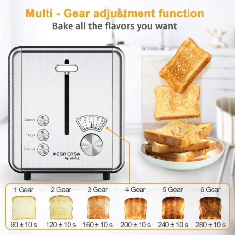 Toasters 2 Slice Best Rated Prime, whall Stainless Steel,Bagel Toaster - 6 Bread Shade Settings