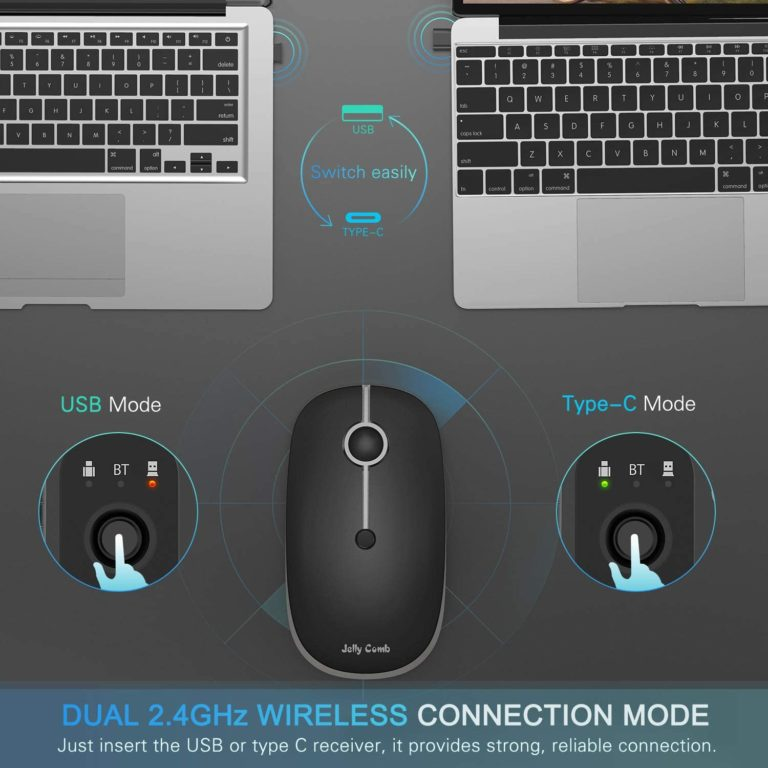 Rechargeable 2.4GHz Wireless Bluetooth Mouse, Jelly Comb MS04 Slim Triple Mode Mouse with Bluetooth
