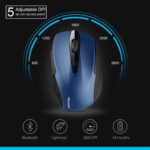 TeckNet 2600DPI Bluetooth Wireless Mouse, 12 Months Battery Life with Battery Indicator